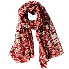 Echarpe motif camouflage rouge