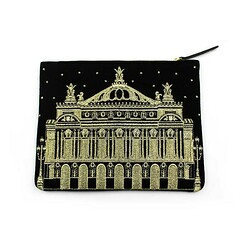 Pochette Taille M Facade Opera Fond Noir Broderie Or